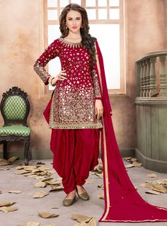 Red Taffeta Silk Patiala Suit 124355