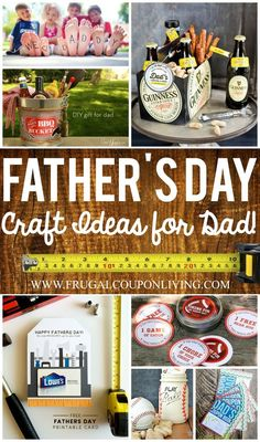 Father's Day Craft Ideas - Ideas for Dad from the kids, mom and more on Frugal Coupon Living. A dad, a step-dad, a grandfather or another significant man. Whoever you are celebrating, whatever their t (Step Father Gifts) Homemade Fathers Day Gifts, Diy Gifts For Dad, First Fathers Day Gifts, Fathers Day Quotes, Fathers Day Presents, Fathers Day Crafts, Daddy Gifts, Diy Father's Day Crafts, Father's Day Diy