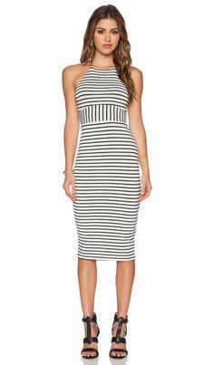 De Lacy Maisy Midi Dress in Black & White Stripe | REVOLVE