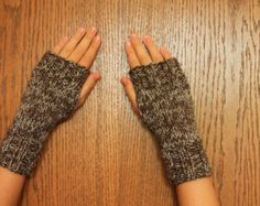 Soft grey wool blend beaded fingerless gloves with by evarica