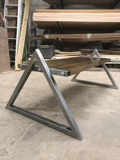 """Learning to weld. Slapped this together today out of some 1 1/2"""" steel tubing and some pine boards. Take it easy on me I am aware I suck. http://ift.tt/2mSI2AF"""