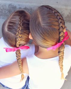 Side Dutch braids on the girls today. I also SNAPPED while I did this...check it out to see how I di - brownhairedbliss