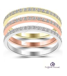 3/4 CT. T.W. Tri Color Stackable Micro Pave Women's Engagement Band Ring Set     #aonejewels