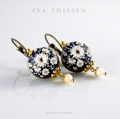 WINDSOR. Polymer Clay Embroidered Earrings by Eva Theissen