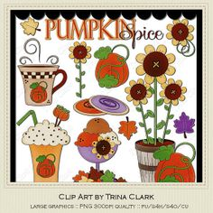 Pumpkin Spice 1 Clip Art Graphics by Trina by marlodeedesigns, $1.35