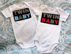 Twins Baby A and B Girl and Boy Matching by theruffleproject, via Etsy.