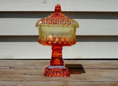 Vintage Amberina Wedding Candy Compote Dish by Jeannette Glass
