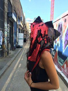 BURNING MAN IDEAS headdress  Sparkle Sequin Rave Festival Hood Aqua Mermaid dragon by LoveKhaos