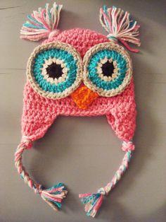 Crochet Baby Girl Owl Beanie Hat.