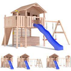 MAXIMO-Spielturm-Baumhaus-Stelzenhaus-Schaukel-Kletterturm-Rutsche-Holz