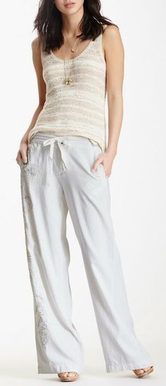 Silk Blend Embroidered Pant