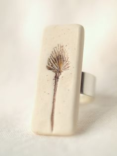 Solitary - An Earthy Porcelain Ring with flower impression, sterling silver, handmade with love.  #etsy #jewelry #ring #peifferstudios $29