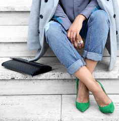 Green ANOUK pumps always a hit at fashion week