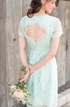 Something Blue: Lace Bridesmaids Dresses via Glamour and Grace. Captured by Amy & Jordan Photography