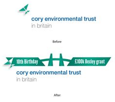 Brand maintained in 10th birthday logo design - As part of our client Cory Environmental Trust in Britain's (CETB) 10th anniversary celebrations, the Trust invited local community projects to apply for a one-off £100,000 funding grant – representing £10,000 for each year of operation.