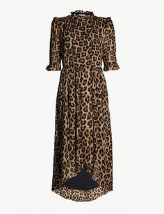 2dfb84da11002d BA SH Fifi leopard-print crepe midi dress