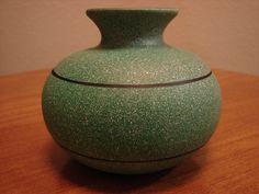 Green Vase, Sandstone Finish with Black Lines, Vintage Vase, Round Vase, Orb Vase, Bud Vase, Art Deco Vase, Textured Vase by BackStageVintageShop on Etsy