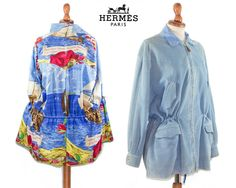 Hermes 1990s vintage Parka / light blue suede with printed silk inside / Authentic jacket made in France /  FR 38 by MyLoftVintage on Etsy