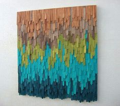 (Looks DIY& with dyed popsicle sticks) Wood Wall Art by ModernRusticArt Popsicle Stick Art, Popsicle Stick Crafts, Craft Stick Crafts, Diy And Crafts, Arts And Crafts, Craft Sticks, Diy Wall Art, Wood Wall Art, Diy Art