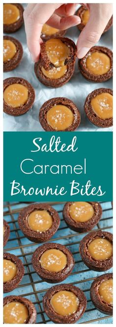 Homemade fudgy brownie bites filled with an easy two-ingredient. Homemade fudgy brownie bites filled with an easy two-ingredient caramel filling and topped off with sea salt. These Salted Caramel Brownie Bites are the perfect mini dessert! Brownie Desserts, Bite Size Desserts, Mini Desserts, Brownie Recipes, Christmas Desserts, Christmas Baking, Easy Desserts, Cookie Recipes, Delicious Desserts