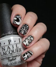 Digit-al Dozen DOES Black & White ~ Day 4: Watermarble with Kiss Nail Dress stickers   Sassy Shelly