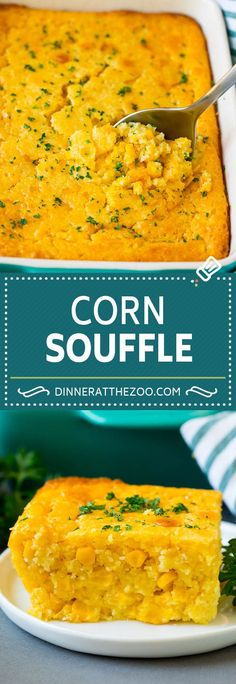 This corn souffle recipe is a flavorful blend of corn kernels, butter, eggs and creamed corn, all baked to light and fluffy perfection. Fall Dinner Recipes, Supper Recipes, Dinner Ideas, Beef Recipes, Cooking Recipes, Corn Recipes, Kitchen Recipes, Vegetable Recipes, Side Dishes Easy
