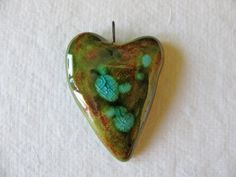 Mossy Woodland Heart Pendant by TinasBeadMind on Etsy, $15.00