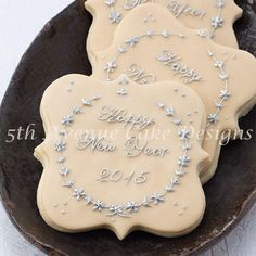 Elegant Ivory with Silver Happy New Year 2015 Cookies
