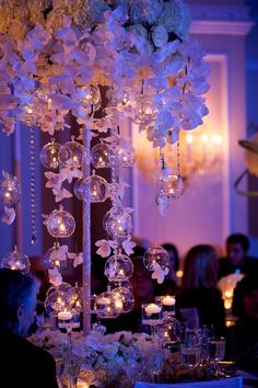 glass bubble tea lights and orchid centerpieces by Tantawan Bloom Quince Themes, Quince Decorations, Quince Ideas, Debut Decorations, Sweet 16 Party Decorations, Hanging Wedding Decorations, Aisle Decorations, Christmas Decorations, Orchid Centerpieces