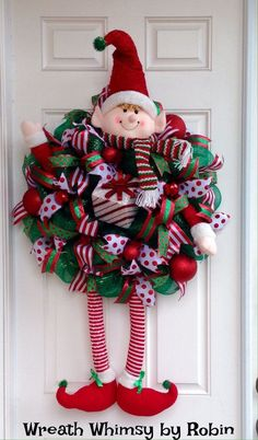 Huge Christmas Elf Deco Mesh Wreath by WreathWhimsybyRobin on Etsy by hazel jane Christmas Door Wreaths, Noel Christmas, Holiday Wreaths, Christmas Ornaments, Christmas Elf Decorations, Winter Wreaths, Etsy Christmas, Christmas Picks, Christmas Swags
