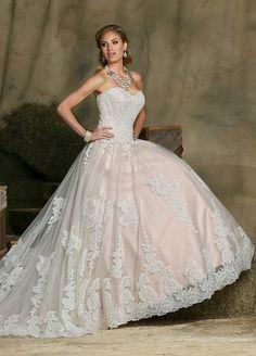 Pink lace wedding gown. #davinci