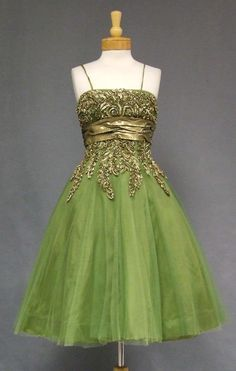 Green Tulle 1950's Cocktail Dress w/ Gold Trim