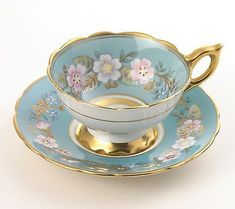 "Vintage ROYAL STAFFORD ""Garland"" TEA CUP and SAUCER Blue"