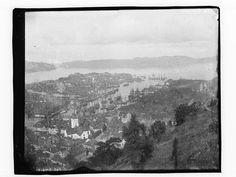 Påskrift negativ: 248 Påskrift konvolutt: B-248 Bergen. Oversikt over Vågen fra Fjellveien.  Foto. Marthinius Skøien - National Library of Norway