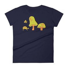 Mushroom T-shirt Tortoise and Butterfly Gift Shirt