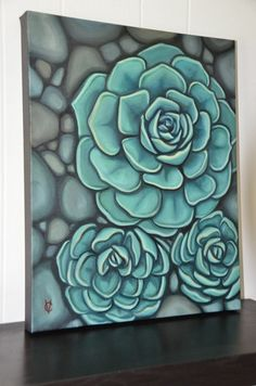 Succulent Painting by Carin Vaughn. Art