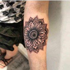 Image may contain: one or more people sunflower tattoos тату Sunflower Mandala Tattoo, Sunflower Tattoo Simple, Sunflower Tattoo Shoulder, Sunflower Tattoos, Sunflower Tattoo Design, Hand Tattoos, Forearm Tattoos, Finger Tattoos, Body Art Tattoos