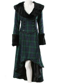 Tartan overcoat- wonder if I can find it in a different clan. Tartan Mode, Tartan Plaid, Tartan Dress, Lip Service Clothing, Long Duster Coat, Tartan Clothing, Steampunk, Tartan Fashion, Scottish Fashion