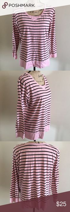 Avenue Pink & Black Stripped Top This shirt is so comfortable and the colors are classic.  Size 14/16 from Avenue. Avenue Tops Tees - Long Sleeve