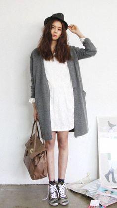 fedora + white dress + tweed long cardigan + socks + sneakers : Asian