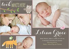 Look Who's Here Girl 5x7 Stationery Card by Yours Truly   Shutterfly