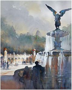 """""""bethesda fountain - nyc"""" thomas w schaller watercolor 30x22 inches 04 september 2013"""