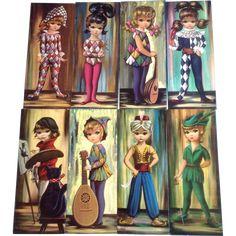 "Eden, Big Eye Harlequin Pierrette Girls 8 Vintage 15"" Print Lithographs 1964 Soroka Sales, Inc. Pictures Keane Era"