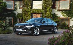 Download wallpapers Volvo S90, 2017, Black S90, Luxury sedan, business class, Swedish cars, Volvo