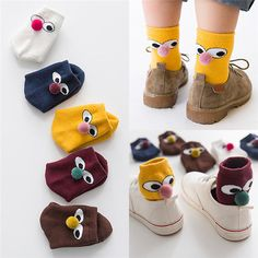 5Pair Kids Girls Boys Cotton Thicken Cartoon Big Eyes Clown Ball Loop Pile Warm Socks