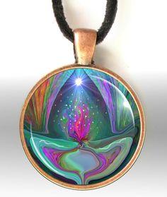 Violet Flame Reiki Jewelry Energy Art Pendant by primalpainter
