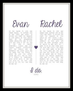 Custom wedding vow print- lol not the words but love the idea!