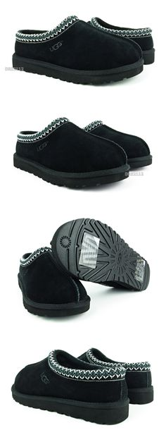 f95e4cc24bc Slippers 11505  Ugg Australia Tasman Black Suede Fur Slippers Mens Size 10   New  -  BUY IT NOW ONLY   84.95 on eBay!