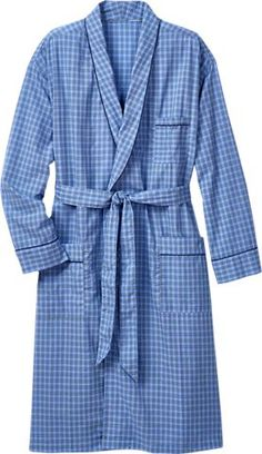 3b594549b3 Add our mens cotton madras plaid bathrobe to your summer sleepwear  collection. This wrap robe