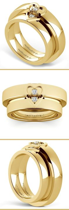 Matching his and hers 5 mm wedding bands in yellow gold feature a split heart…